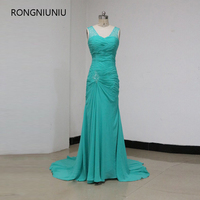 Hot Sale Beading Chiffon Long V Neck Beach Green Evening Party Gowns Pleat 2016 New Arrival
