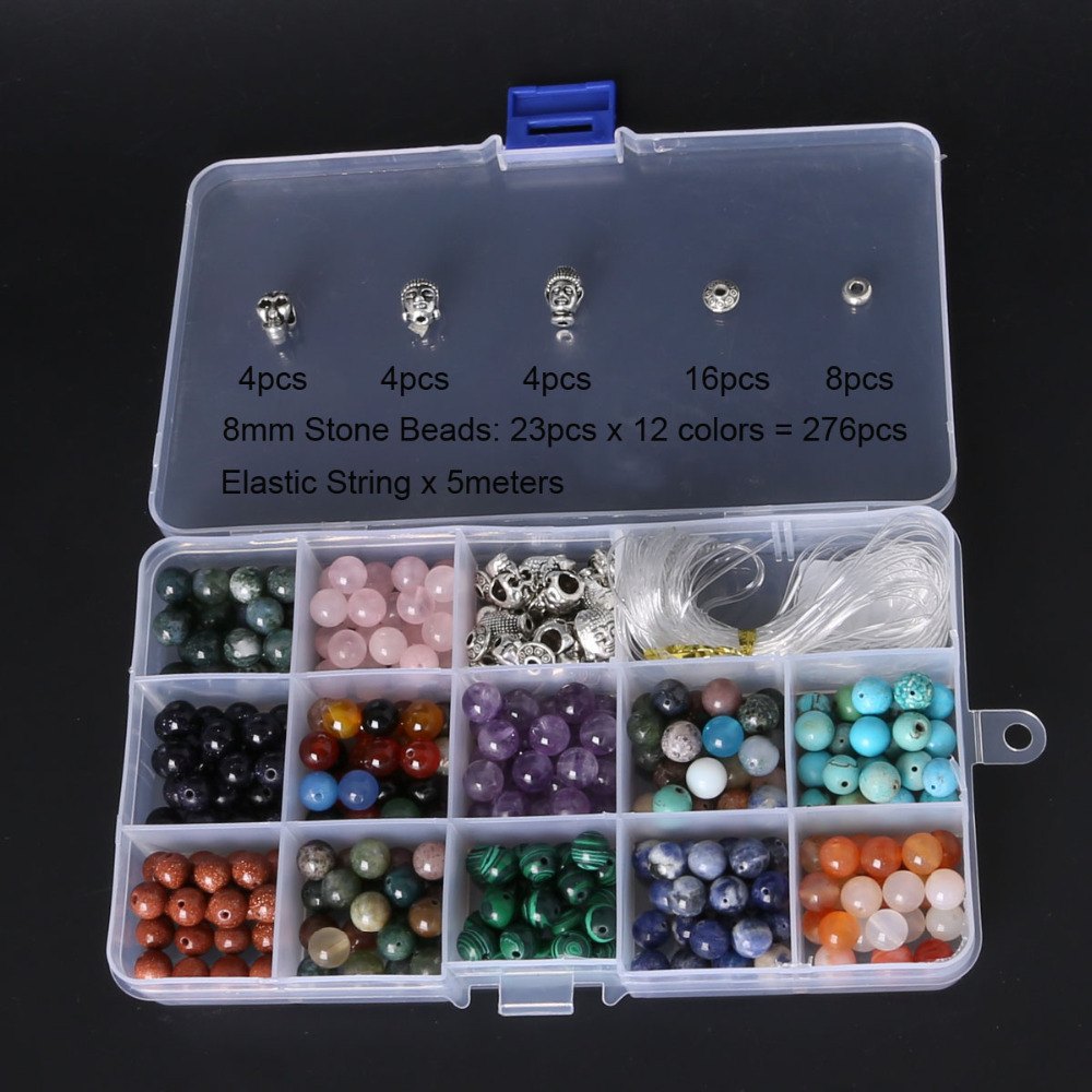 Round Natural Stone DIY Beads Kit for Bracelet Making ,Including Buddha& Skull beads & Elastic String 8mm 6 12 color including buddha skull beads elastic string beads set round natural stone beads for jewelry making bracelet diy