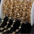 5 м грановитая Rondelle провода обернуты из бисера сеть, Позолоченные розария сеть шампанское стеклянные бусины цепи ожерелье ювелирных изделий