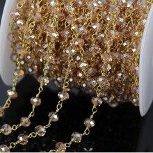 5 M facetado Rondelle alambre envuelto cadena de cuentas, chapado en oro de la cadena del rosario champán cadena de perlas de vidrio resultados de la joyería collar