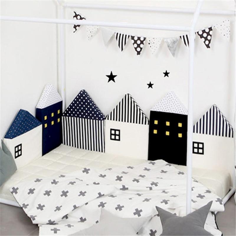 baby 4 pcs/set Myudi Baby bed bumper little house pattern crib protection infant Cot Nursery bedding Toddler Bed Bedding Set