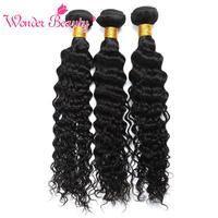 Merveille la Beauté Vague Profonde faisceaux Brut Indien Extensions de Cheveux Naturel Noir de Cheveux humains 3 Bundles Offre Non Remy Cheveux Peut Être Colorant