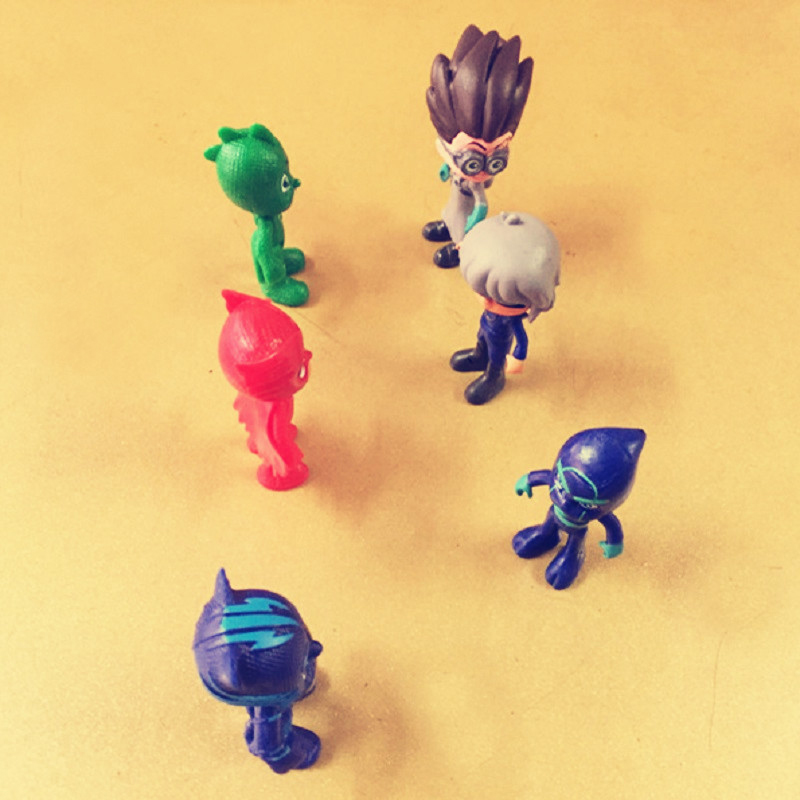 6 Pcs/set Pj Cartoon Pvc Anime Figure Toys Les Pyjamasques Connor Greg Amaya Jouet Collention Children Birthday Toy Mask Gift pj cartoon pj masks command center car parking toy lot car characters catboy owlette gekko masked figure toys kids party gift