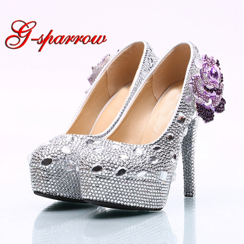 Wedding Ceremony Shoes 14cm High Heel Silver Rhinestone Bridal Dress Shoes with Purple Crystal Flower Party Prom Pumps cinderella high heels crystal wedding shoes 14cm thin heel rhinestone bridal shoes round toe formal occasion prom shoes