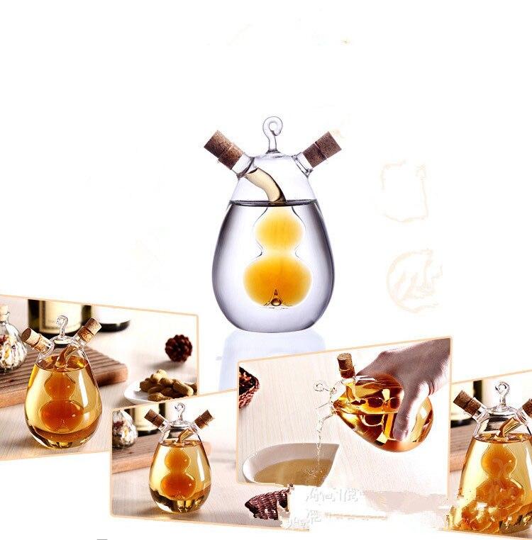 1PC Kitchen Glass Oil Bottle Multi-purpose Vinegar Cruet 2 in1 Handblown Vinegar Cruet Soy Sauce Vinegar Glass Bottle OK 0358
