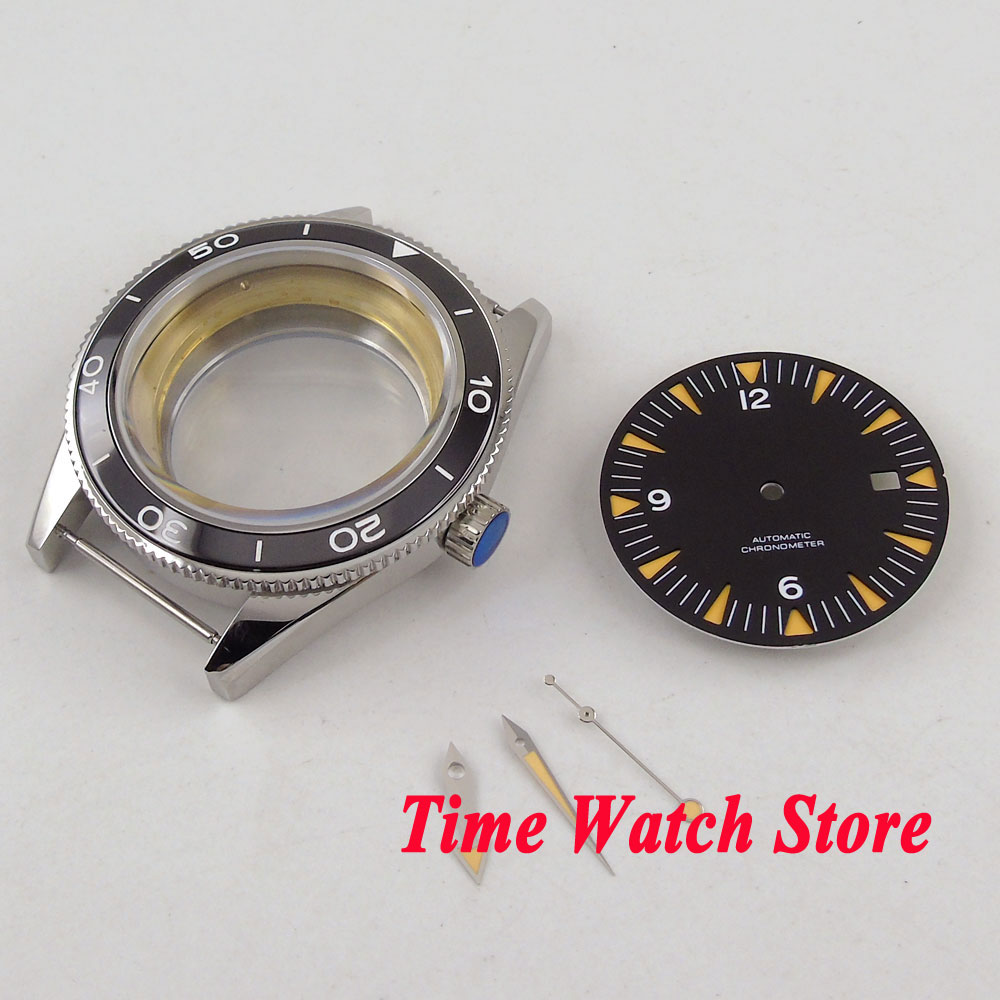 Fit ETA 2836 MIYOTA 8215 movement 41mm 316L stainless steel watch case black ceramic bezel sapphire glass +dial+hands C133 цена и фото