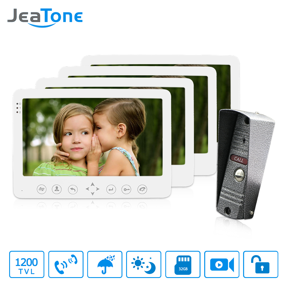 JeaTone 7 Color LCD Wired 1200TVL Night Camera Video Doorphone Intercom Villa Security System Smart Unlocking Electronic Door 7 inch video doorbell tft lcd hd screen wired video doorphone for villa one monitor with one metal outdoor unit night vision