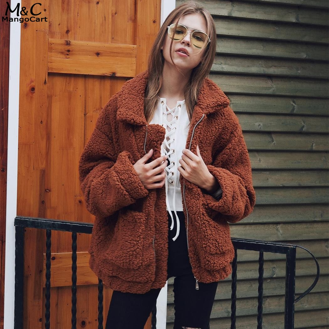 Women   Jacket   Coat Warm   Basic     Jackets   2017 Casual Soft Coats Turn-down Neck Long Sleeve Fall Winter Faux Fur   Jacket   Coat Zipper