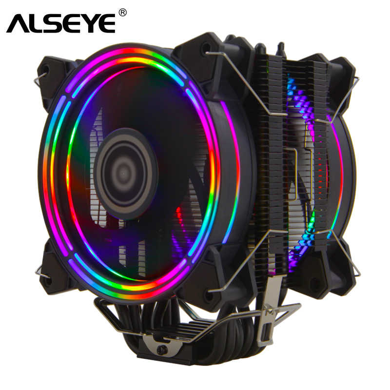 Alseye H120D CPU Cooler RGB Fan 120 Mm PWM 4 Pin 6 Pipa Panas Cooler untuk LGA 775 115X1366 2011 AM2 + AM3 + AM4