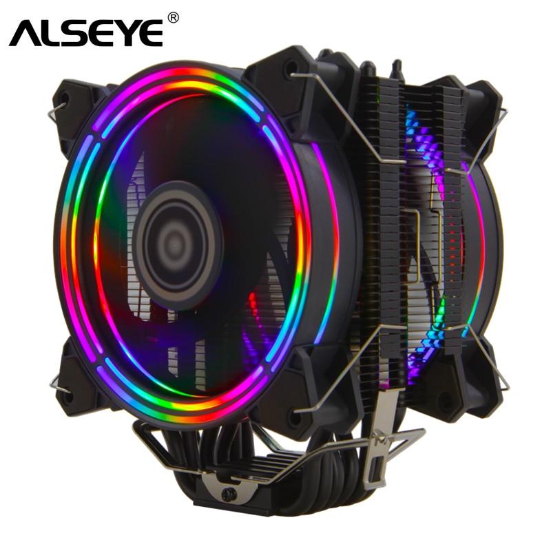 ALSEYE H120D מעבד קריר RGB מאוורר 120mm PWM 4 פינים 6 צינורות חום Cooler עבור LGA 775 115x1366 2011 AM2 + AM3 + AM4