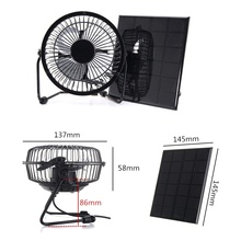 BUHESHUI 4 Inch Cooling Ventilation Fan USB 3W 6V Solar Powered Panel Charger Iron Fan For Home Office Outdoor Traveling Fishing