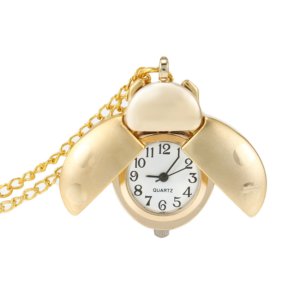 New Retro Gold Cute Beetle Quartz Pocket Watch Mechanical Pendant Necklace Chain Clock Gifts VN 68