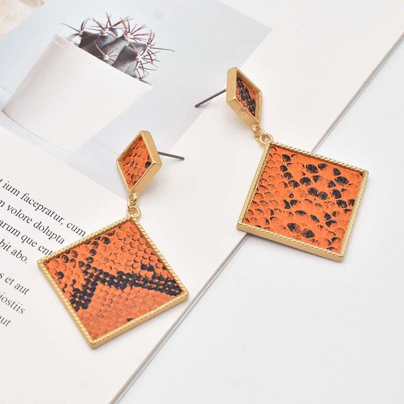Carvejewl big earrings snake print double square pendant drop dangle earrings women jewelry US fashion Punk earrings wholesale in Drop Earrings from Jewelry Accessories