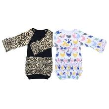 Пижама с принтами цветов для маленьких девочек Новогоднее платье для малышей Первый Хэллоуин домашний наряд для маленьких девочек ночные рубашки с леопардовым принтом и оборками для новорожденных