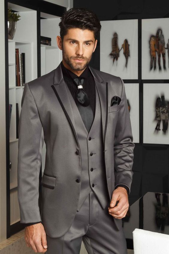 2017 Latest Coat Pant Designs Smoking Grey Satin Men Suit Slim Fit 3 Piece Groom Tuxedo Custom Suits Prom Blazer Terno Masculino