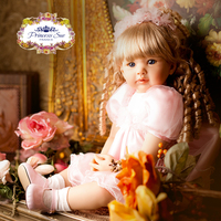 22 inch Babies Reborn Girl Doll Pink Princess Dressed Curly Hair Blonde Girl Doll Exclusive Sale Birthday Gifts Toys for Girls