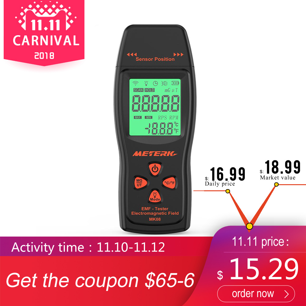 Meterk EMF Meter Handheld Mini Digital LCD EMF Detector Electromagnetic Field Tester Dosimeter Tester Counter