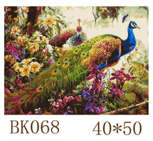 Frameless Picture Beautiful Peacock DIY Painting By Numbers Modern Wall Art Handpainted Oil On Canvas For Home Decor