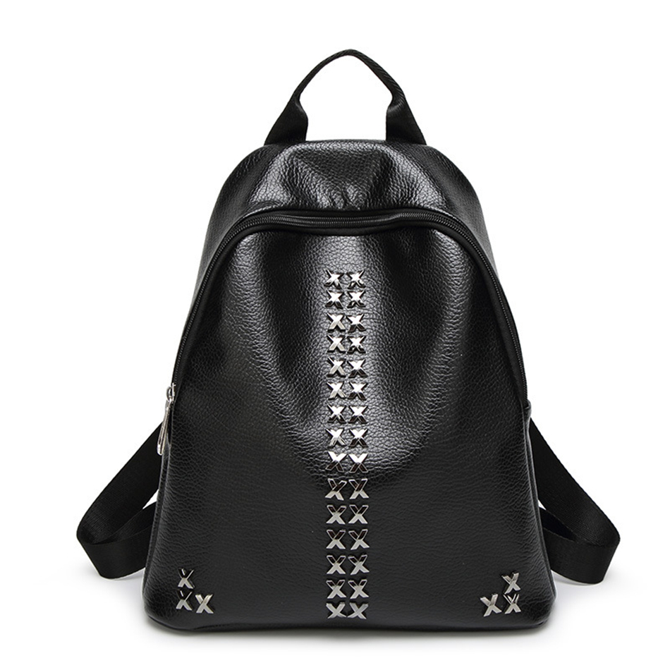 KEYTREND Newest Soft Leather Women Backpacks Punk Rivet Style Travel Backpacks Ladies Strap Laptop Girl Small