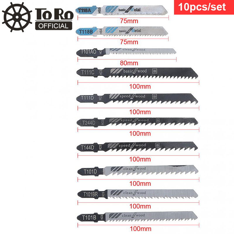 10pcs / Set HSS & HCS Combination Reciprocating Saw Blades Straight Cutting Jig Saw Fit For Woodworking / Plastic PVC