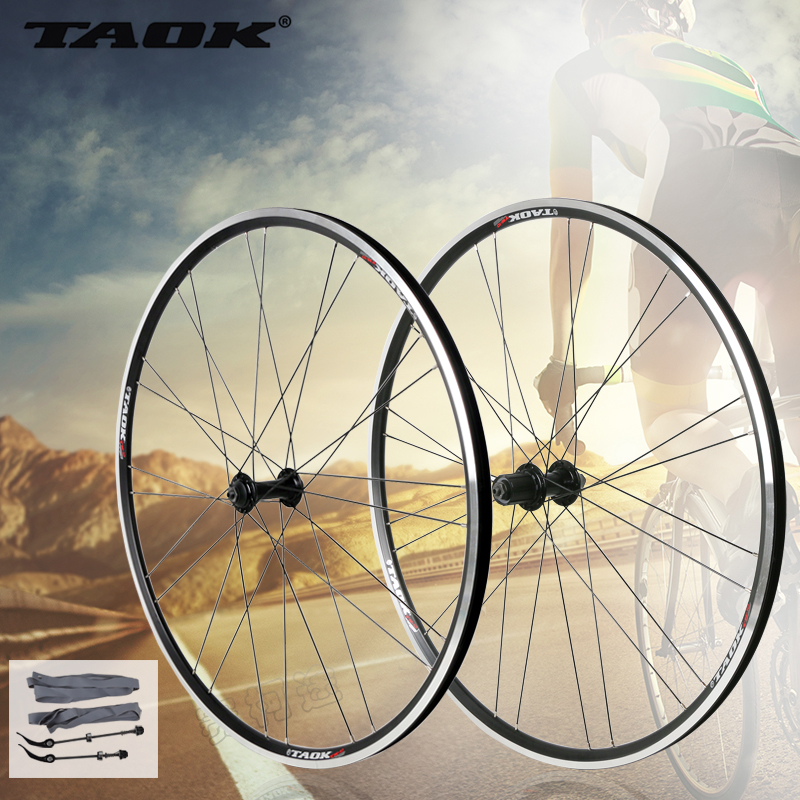 TAOK 700C road bike wheels front and rear aluminum V brake group 32 hole single racing wheel hub 1set front and rear 700c road bike wheel bicycle magnesium alloy three spokes parts integrated wheel fixed gear single speed