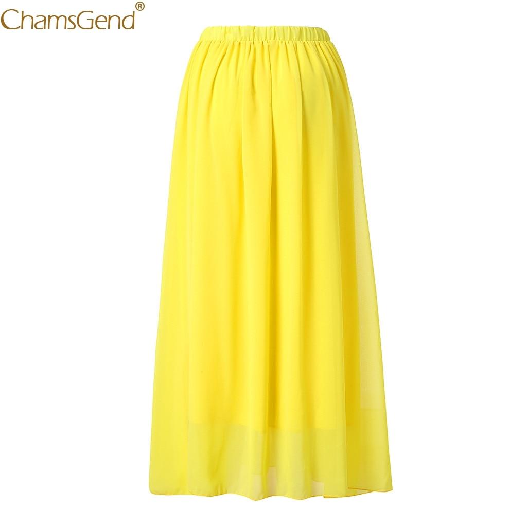Chamsgend Spring Summer Casual Solid Color Midi Skirt Chiffon Womens Gypsy Floor Length Long Beach Skirt  Women Vintage Dec28