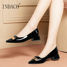 цена на Women Shoes Pumps Leather Heels Ladies Shoes Pointed Toe Metal Decoration Black Work Shoes Square Heel