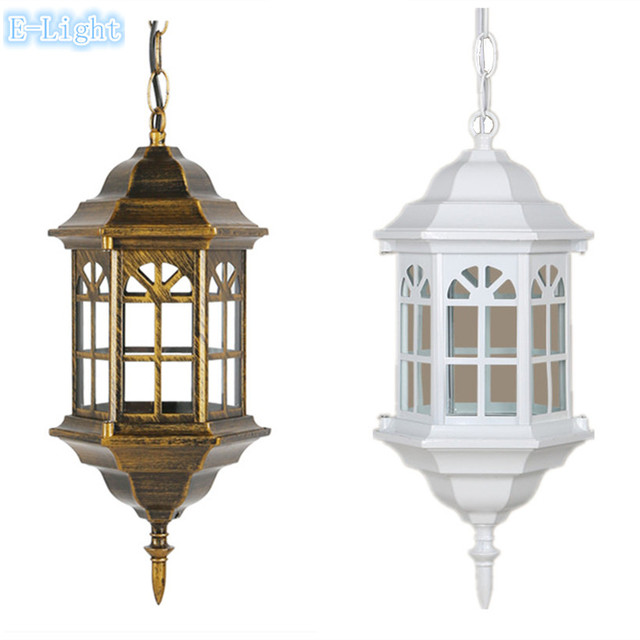 Beautiful European Outdoor Lighting Pendant Led Porch Patio Lights Waterproof IP44  Outdoor Porch Lamps White / Bronze