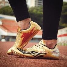 Унисекс трек поле обувь весна осень женские шиповки атлетические золотые серебряные мужские кроссовки для бега гвозди спортивная обувь со шнуровкой