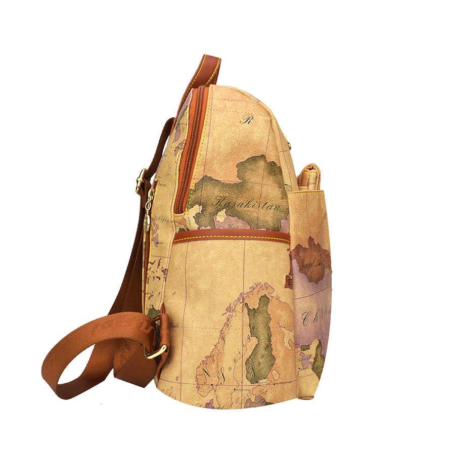 Ретро рюкзак для путешествий большой емкости кожаный рюкзак для школы Карта Мира Рюкзак две сумки один комплект