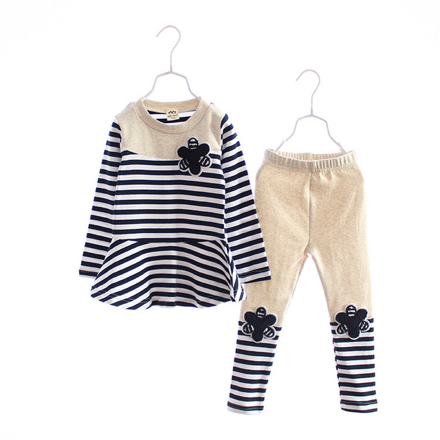 Anlencool High quality Spring Korean children girls sets flower wholesale striped suit for children T-shirt + Leggings two piece