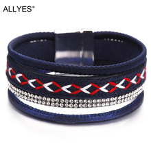 ALLYES Leather Bracelets For Women Bohemian Magnet Clasp Blue Color Cloth Belt Crystal Boho Multilayer Wrap Bracelet Jewelry(China)