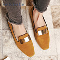 Genuine Leather Casual Flats 2017 Spring Autumn Fashion Casual Sheepskin Loafers Plus Size 34 - 42 Apricot Black Red Woman Flats