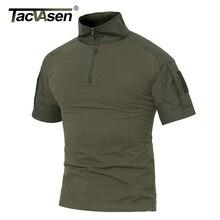 TACVASEN мужские летние футболки армейская зеленая тактическая футболка с коротким рукавом Военная камуфляжная хлопковая Футболка Пейнтбольная одежда