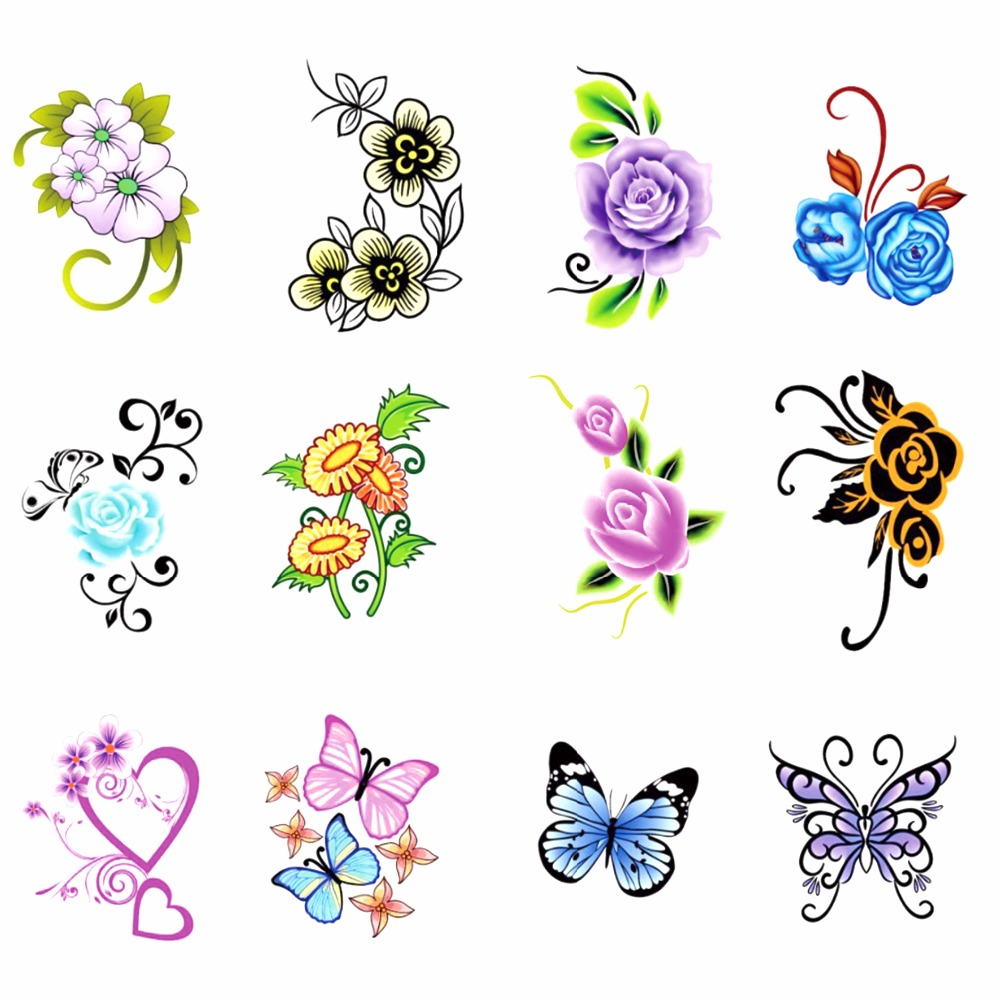 FWC 1 Sheet Nail Water Transfer Nails Art Sticker Flowers Butterfly Design Nail Wraps Sticker Tips Manicure Nail Supplies Decal free shipping new 2017 hot 13 single pure color series classic collection manicure nail polish strips nail wraps full nail sheet