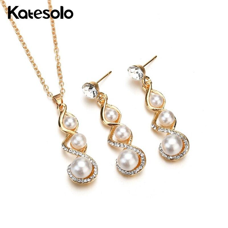 2 Stücke Halskette Anhänger Ohrringe Set Hochzeit Party Verzerrung Lange Imitation Perle Schmuck Set Gold-farbe Afrikanische Braut Geschenk