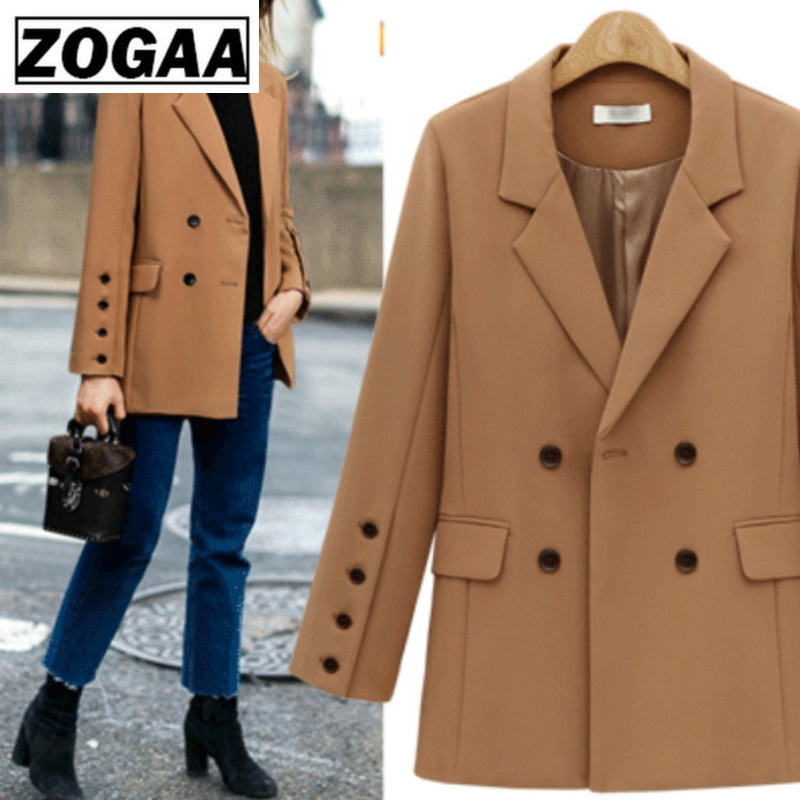 ZOGGA Fall 2019 New European And American Suit Collar In The Long Double-Breasted Loose Suit Style Coat