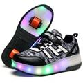 Crianças Sapatos Da Moda Sapatos Casuais Com Uma e Duas Rodas Patins Respirável Menino & Meninas Roda LED Iluminado Tênis