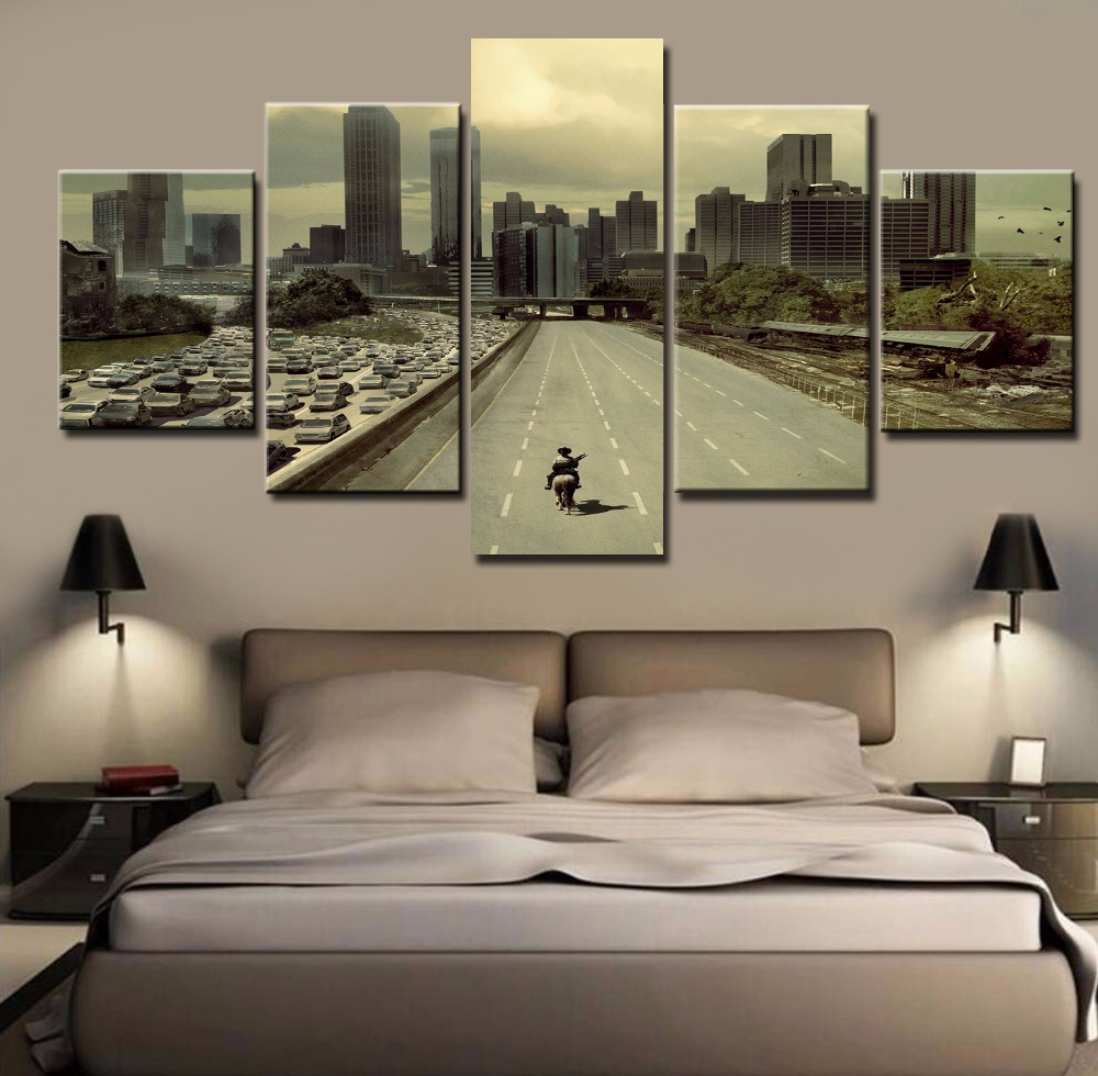 5 piece hd print large modern printed walking dead oil for 10x20 living room
