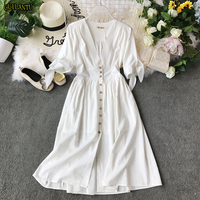 2019 Summer Bohemian White Linen Dress Women V Neck Half Sleeve Solid Single Breasted Vintage Robe Longue Evening Party Dresses