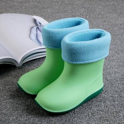 Kids for Waterproof Boys Rubber Boots Baby Girls Non-slip Cotton Warm Water Shoes Winter Children Rainboots Removable