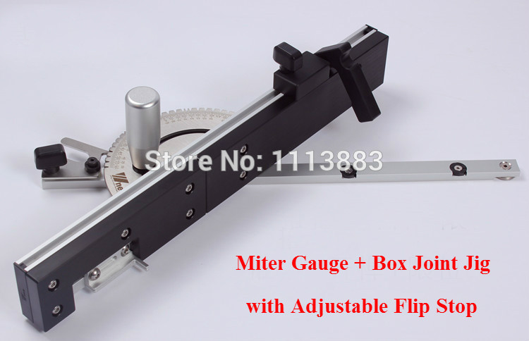 Miter Gauge And Box Joint Jig Kit With Adjustable Flip Stop, Brass/Aluminum Handle For You To Choose