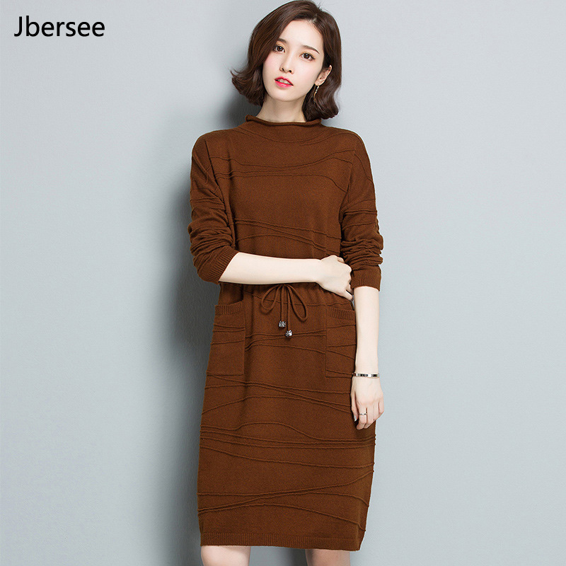 Vestidos Autumn Winter Long-sleeved Turtleneck Pullover Dresses Korean Waist belt Women Knitted Sweater Dress High Quality