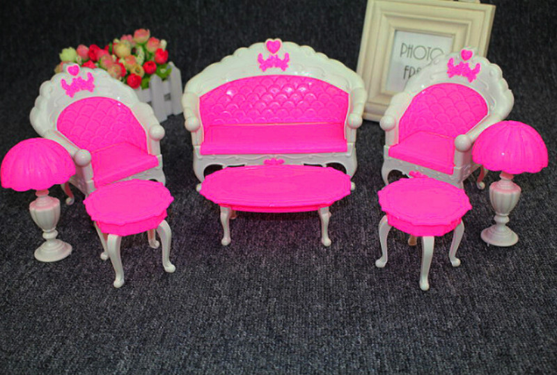 6Pcs/ Pack Dollhouse Furniture Living Room Parlour Sofa Chair Set Plastic  for Barbie Acessorios House - Online Get Cheap Barbie Living Room Furniture Set -Aliexpress.com