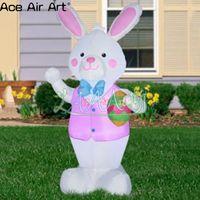 Пасхальное украшение Реплика модель, белое освещение надувной белый кролик в розовом, надувные яйца