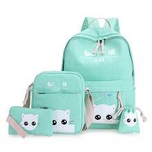Grüne katze rucksäcke für teenager schultasche für mädchen set 4 grün jugendliche rucksack mintgrün Japan Koreanische zurück pack nbxq128