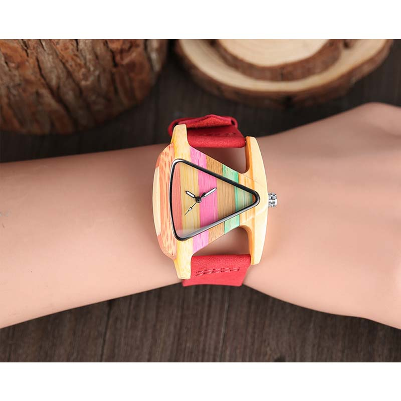 YISUYA unieke driehoek holle houten horloge creatieve kleurrijke - Dameshorloges - Foto 5