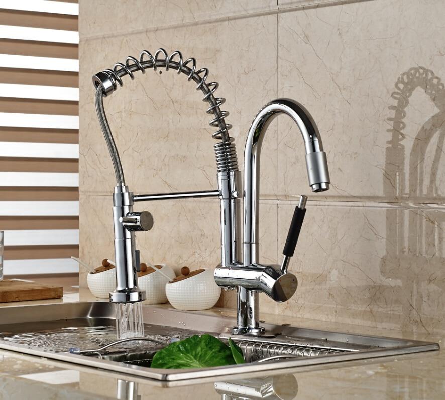 Polished Chrome Brass Kitchen Faucet Double Sprayer Kitchen Faucet Single Handle Vessel Mixer Tap цены онлайн