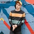 VIISHOW Бренд Уличной Мужская толстовка с капюшоном дворец капюшоном мужчины кофты хип-хоп полосатый пуловер мужчины потеют hommemens костюм