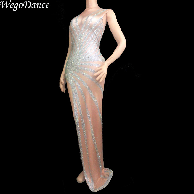 new sexy woman Singer Costume rhinestones Dress Full Sparkling Crystals Clothing freeshipping